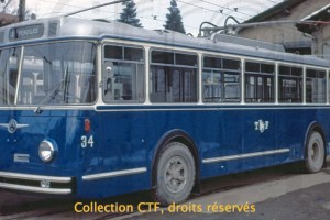 Décembre 1964 - Trolleybus 34 flambant neuf ! (Photo Betticher, collection CTF)