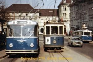 31.03.1965 - Saurer et trams se côtoient ! (Collection CTF, droits réservés)