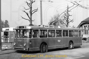 1981 - Trolleybus 34 à l'ancien terminus du Jura (photo TF, collection CTF)