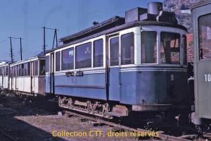 1973 - Le tram 9 à Tournon (F), jusqu'alors préservé à l'abri, présente encore une belle allure (Coll. CTF, DR)