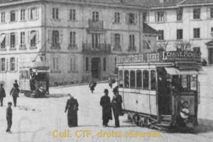 1904 - Trams 1-3 pratiquement en état d'origine (les girouettes et les auvents ont été installés vers 1900)
