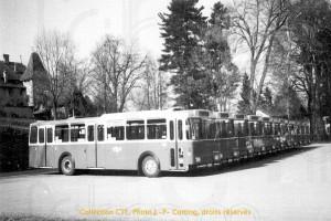 04.03.1972 - Inauguration des autobus 51-61 à Bourguillon (photo J.-P. Cotting, coll. CTF)