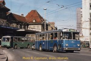 Mars 1986 - le trolleybus 34 encore en état d'origine (photo R. Gäumann, droits réservés)