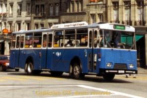 1990 - L'autobus 63 quitte l'arrêt Tilleul (photo R. Gäumann, DR)
